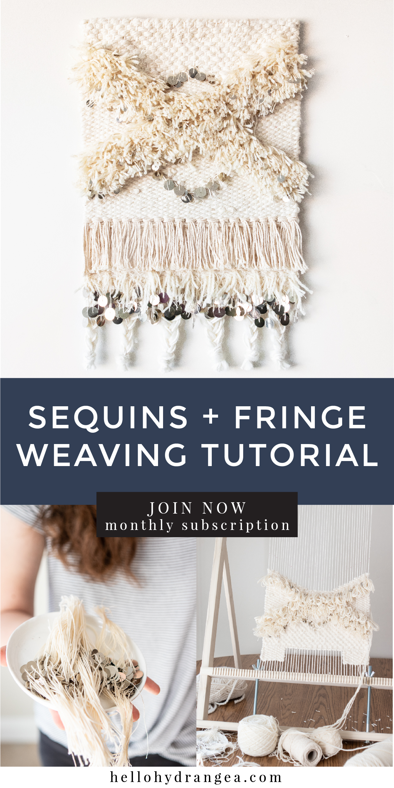 weaving fringe and sequins