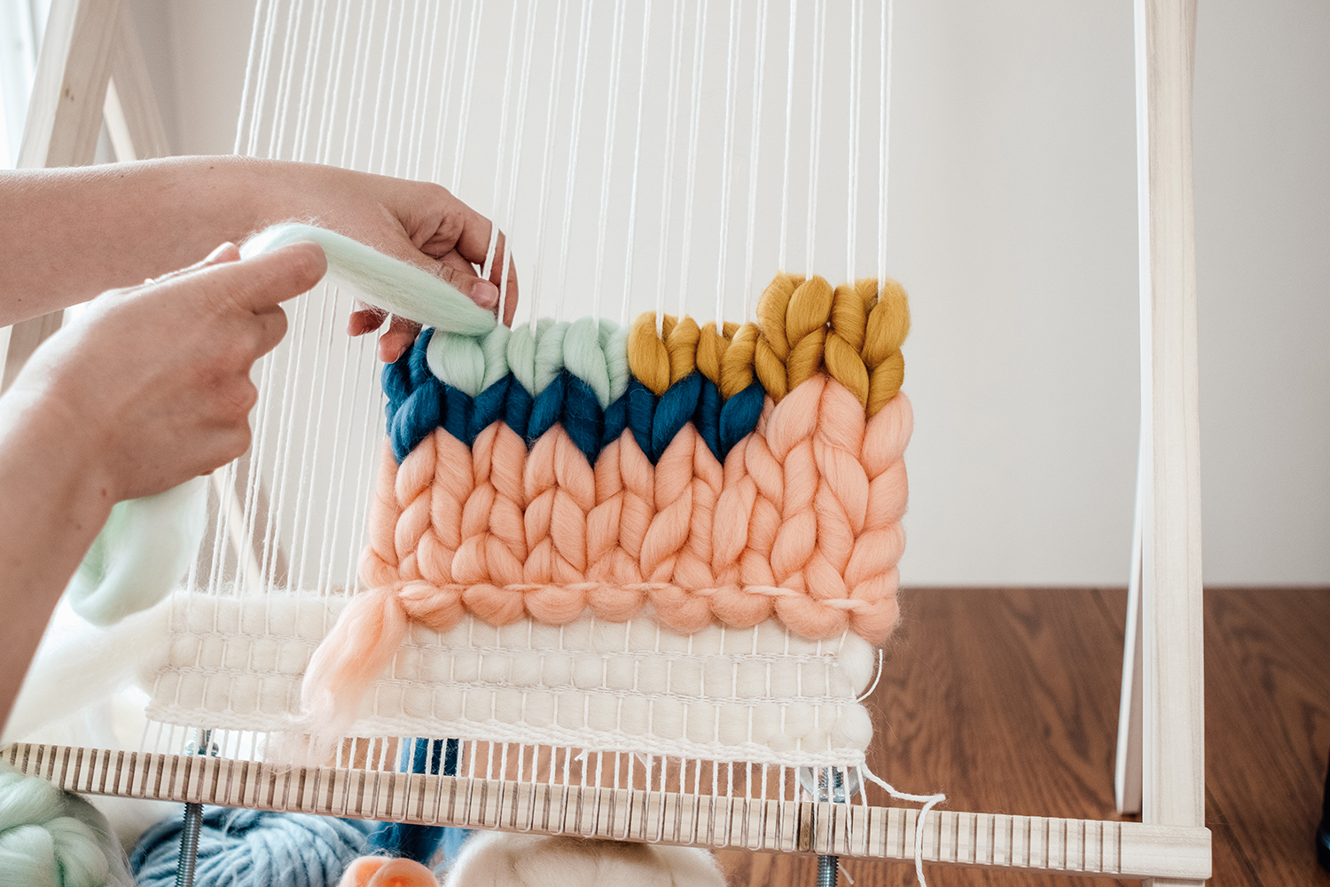 Learn how to weave with roving - Get my roving class. (4 different ways to weave with roving, plus all the tips to keep it as smooth and fluffy as possible!) CLICK HERE.