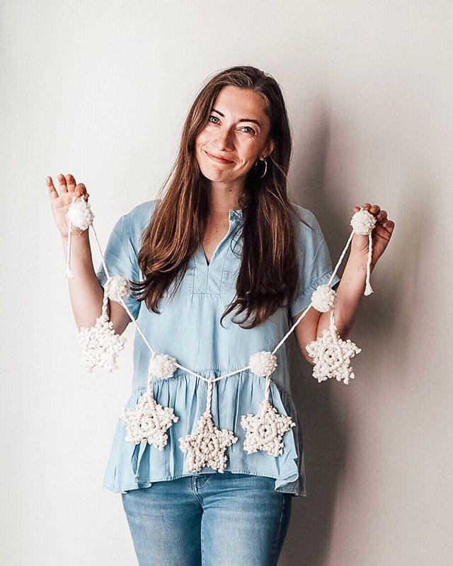 "These macrame stars took quite a few prototypes before an 'ah-ha!' moment struck and I cracked the knots. Surprisingly, I'm very picky about what fiber projects actually get to hang in my home (because otherwise I would have walls filled with them 😆) and this star and Pom Pom garland are one of my favorite things in my house! ⠀ They work as decor all year long, but this time of year is especially great for creating some star-shaped decor. Grab my macrame star class for the full video tutorials to make this exact garland, a 10"" wall hanging and a giant macrame star wreath. You could also make them with thin yarn and a hook on top, if you want to get a head-start on your ornament preparations!⠀ Link in profile - class includes 4 videos, full ebook and supply list!⠀ XO⠀ Lindsey⠀ .⠀ .⠀ ⠀ .⠀ .⠀ .⠀ .⠀ .⠀ #macrame #vintage #wallart #jewelry #macramemovement #bohostyle #art #bohemianstyle #walldecor #bohemiandecor #bohohome #interiordesign #macramewallhanging #bohemian #makersgonnamake #fiberart #macramelove #hippie #wallhanging #bohochic #bohodecor #handmade #etsy #boho #macramemakers #homedecor #modernmacrame #decor #macramelove #design"