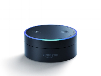 Amazon Echo Dot:  short cylindrical device with two round buttons on top. It has the Amazon logo on the front.