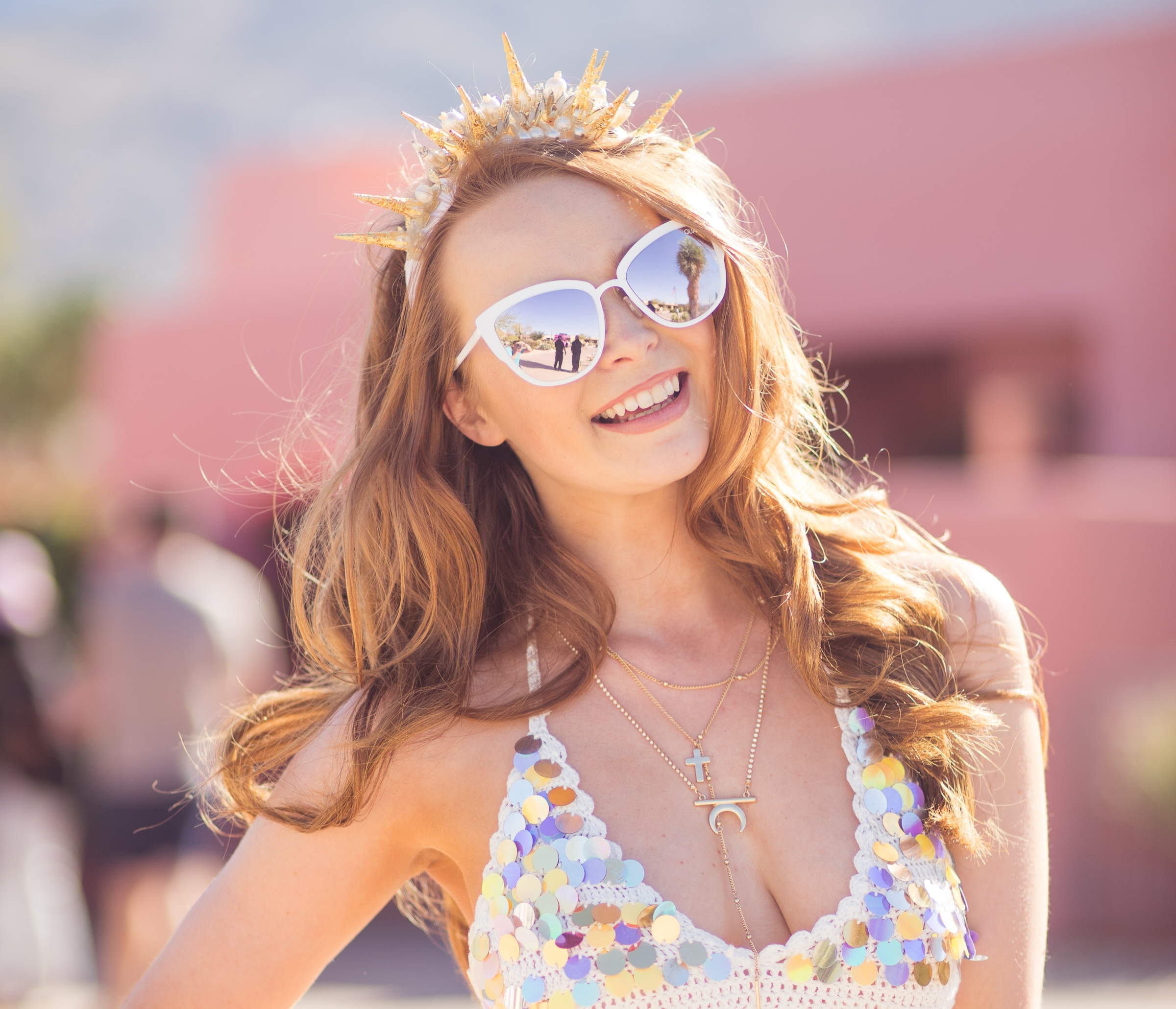 Ultimate Hollywood Coachella Poolside Party beautiful shell crown.jpg