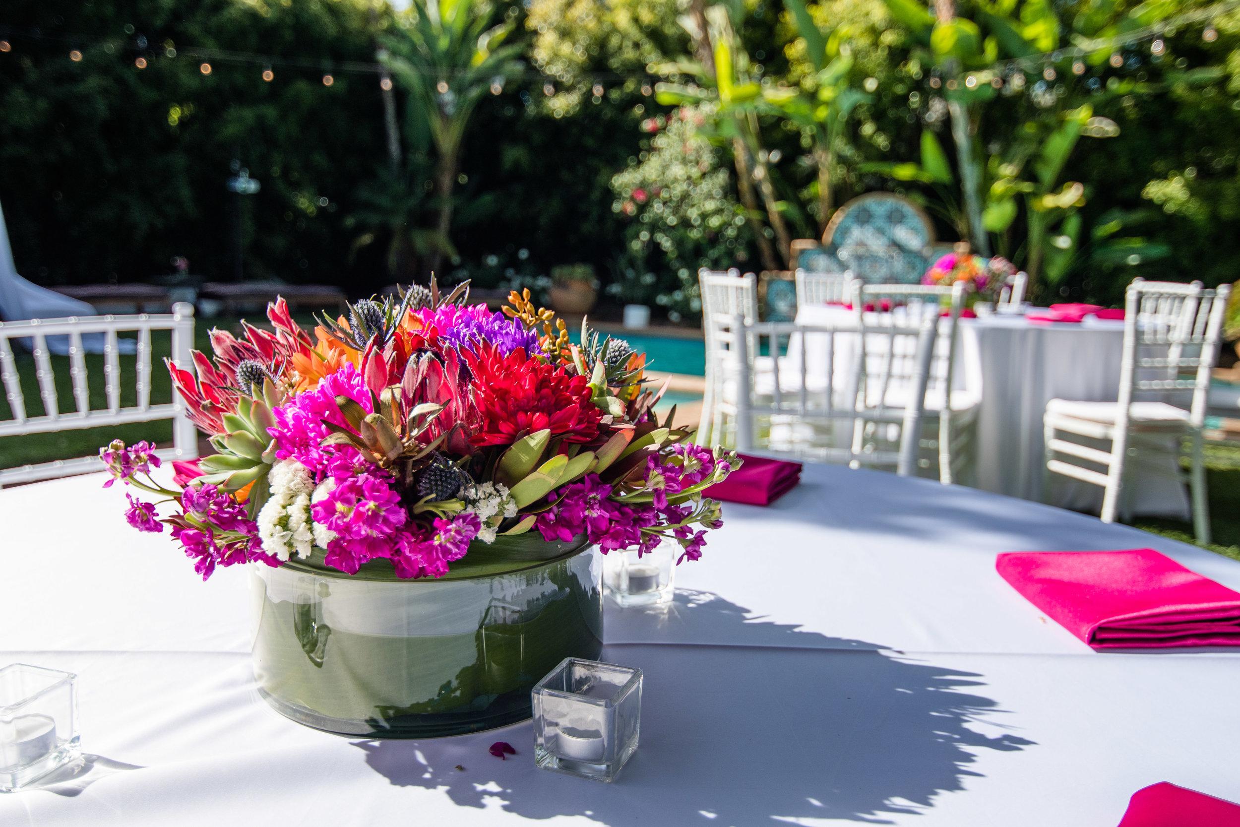 Vibrant Fiesta Backyard Wedding Reception beautiful colorful spring blooms.jpg