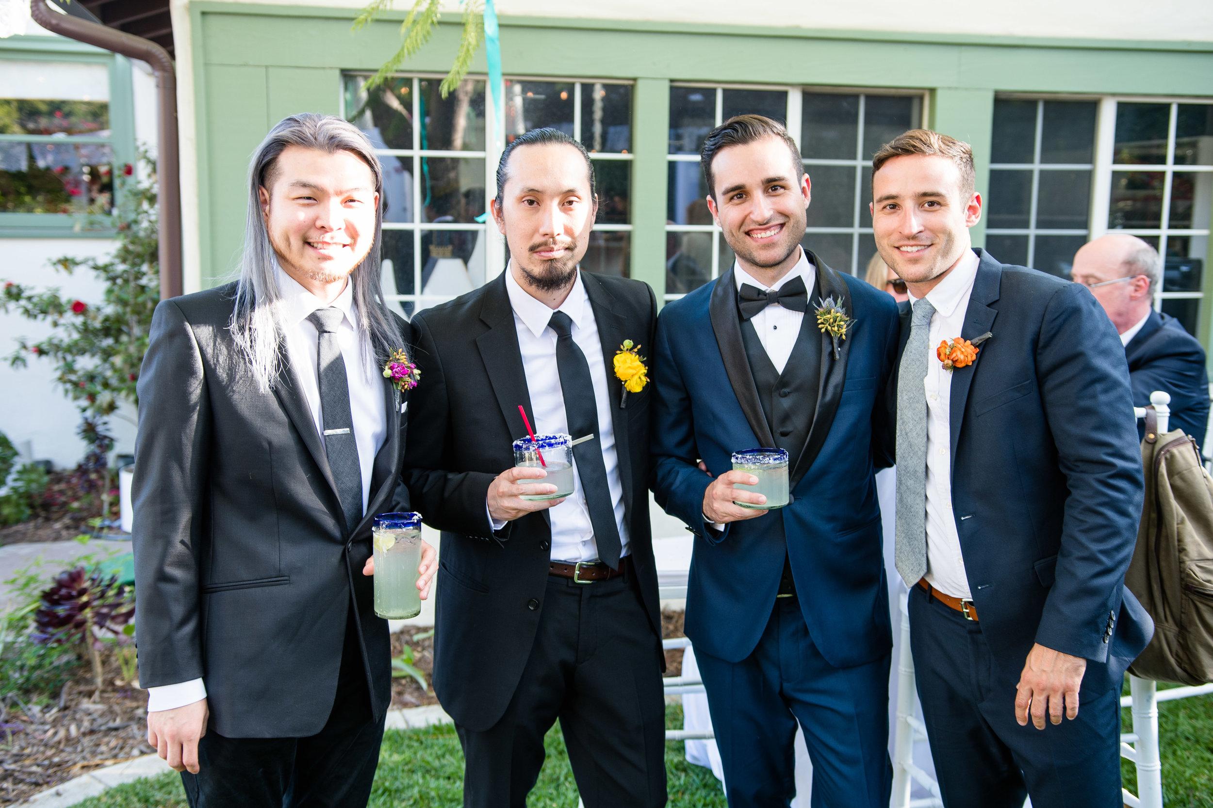 Vibrant Fiesta Backyard Wedding Reception groom and groomsmen.jpg