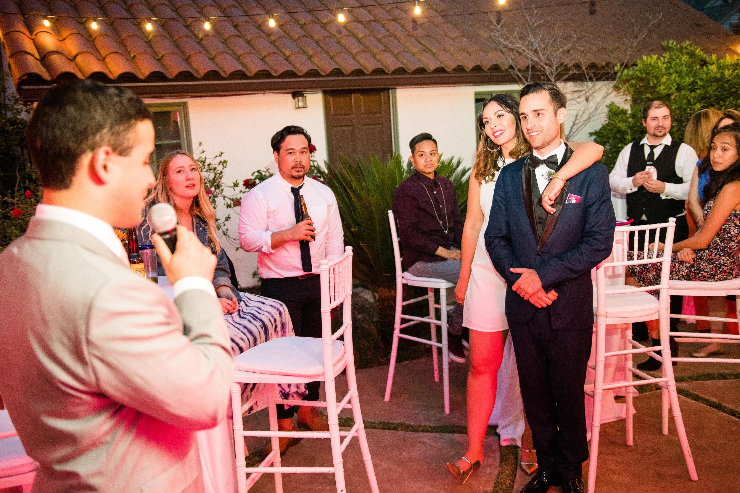 Vibrant Fiesta Backyard Wedding Reception groomsman toasts.jpg