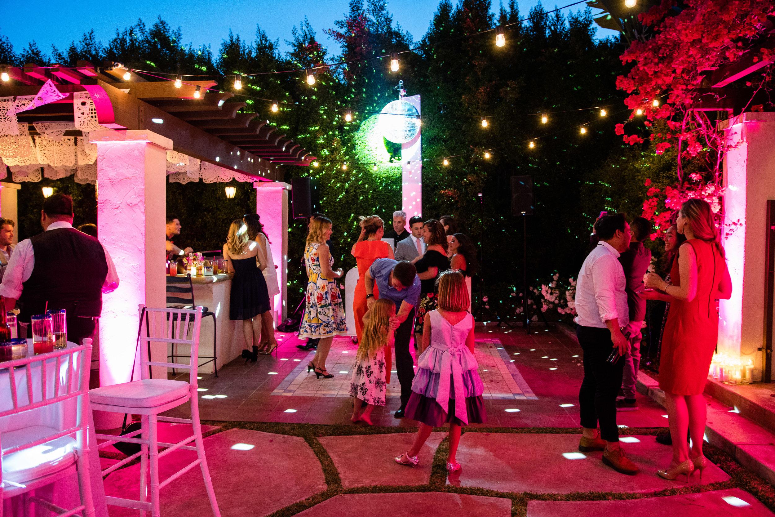 Vibrant Fiesta Backyard Wedding Reception evening dance floor.jpg
