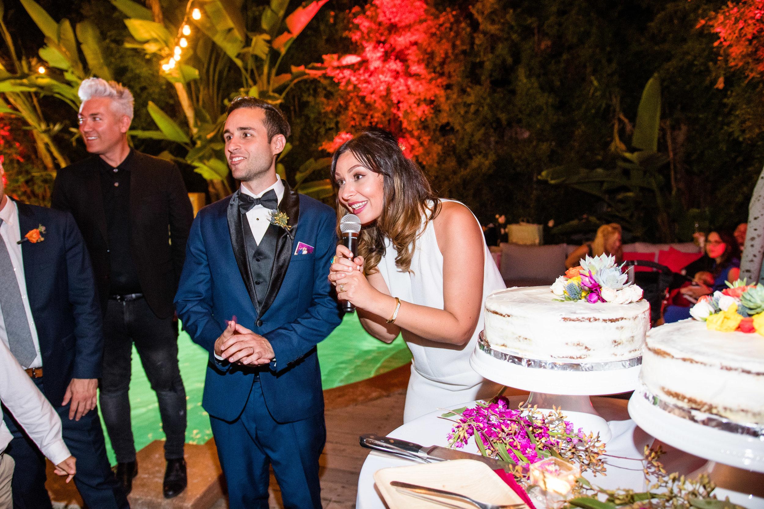 Vibrant Fiesta Backyard Wedding Reception bride and groom making speech at cake cutting.jpg