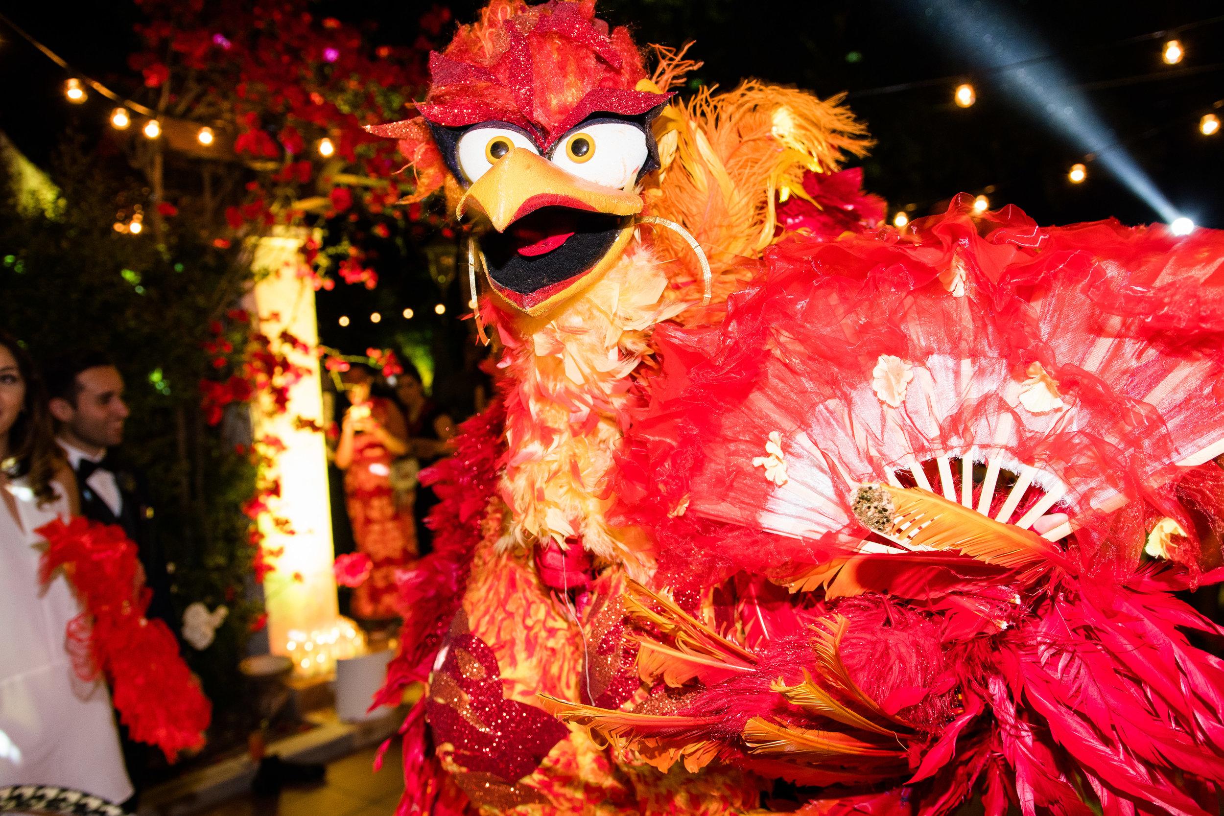 Vibrant Fiesta Backyard Wedding Reception miss fuego dancing.jpg