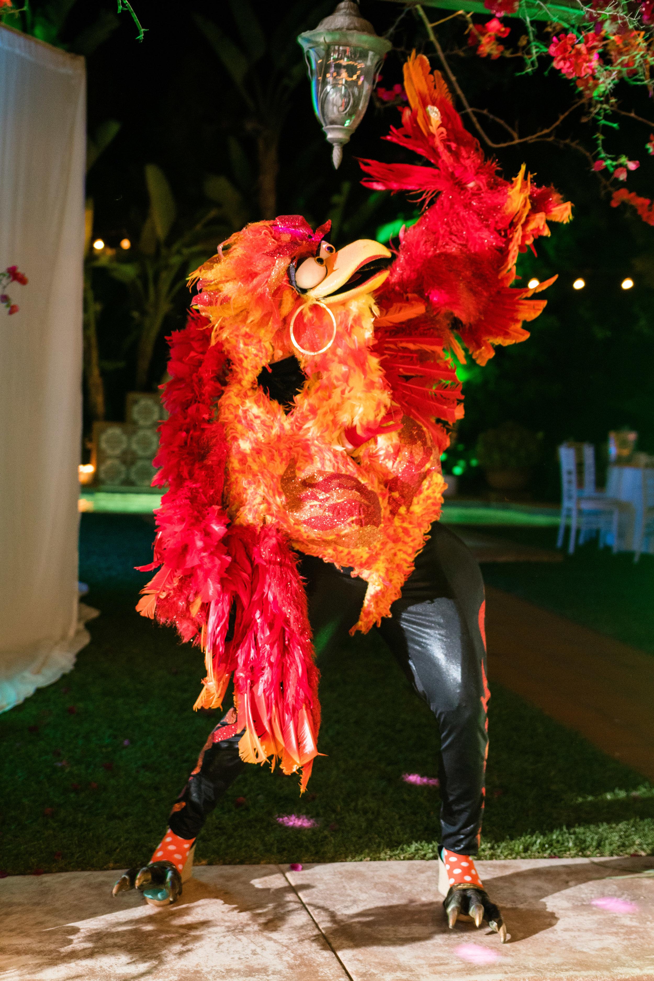 Vibrant Fiesta Backyard Wedding Reception miss fuego posing.jpg