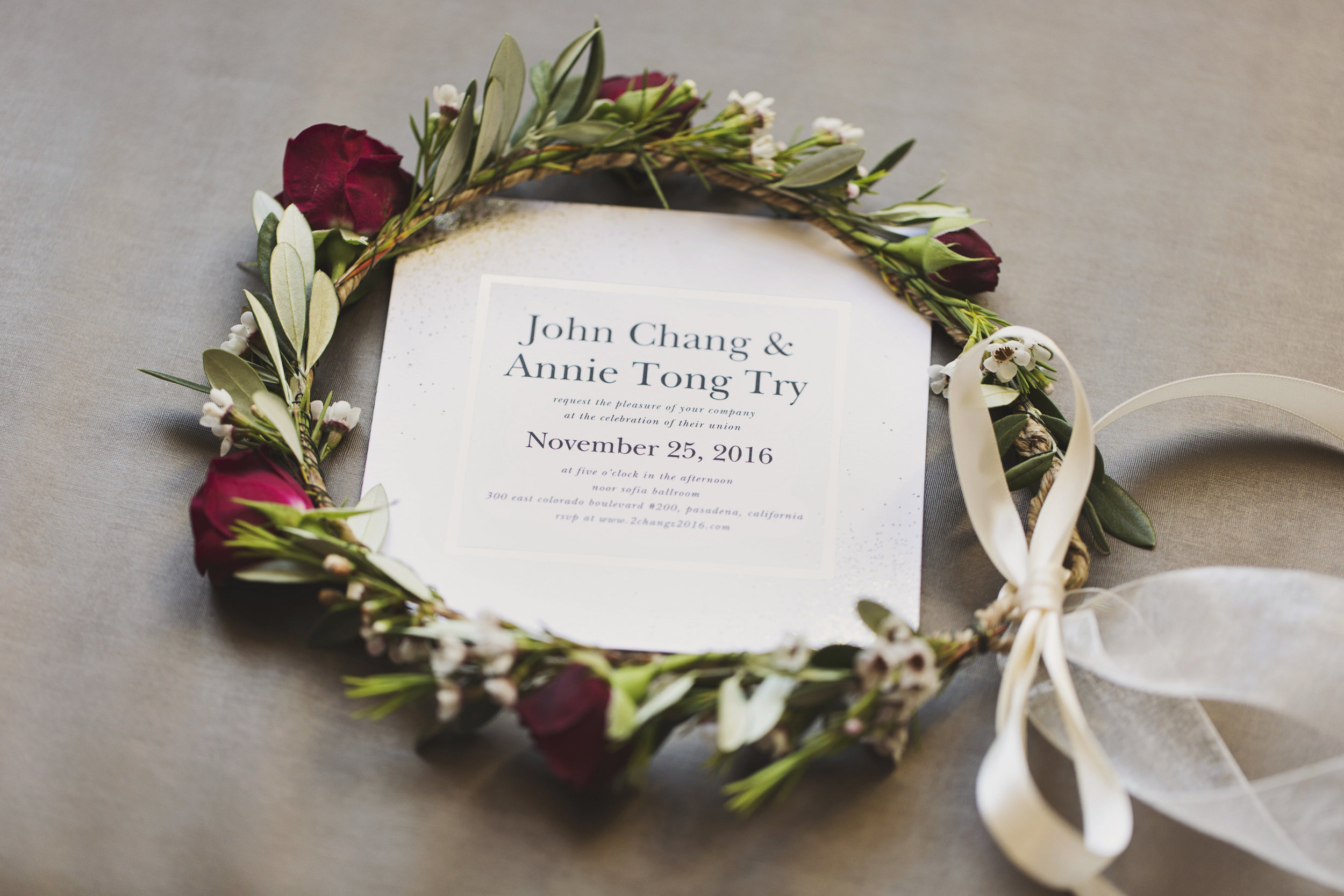 Beautiful Traditional Modern Chinese Wedding floral crown with invitation.jpg