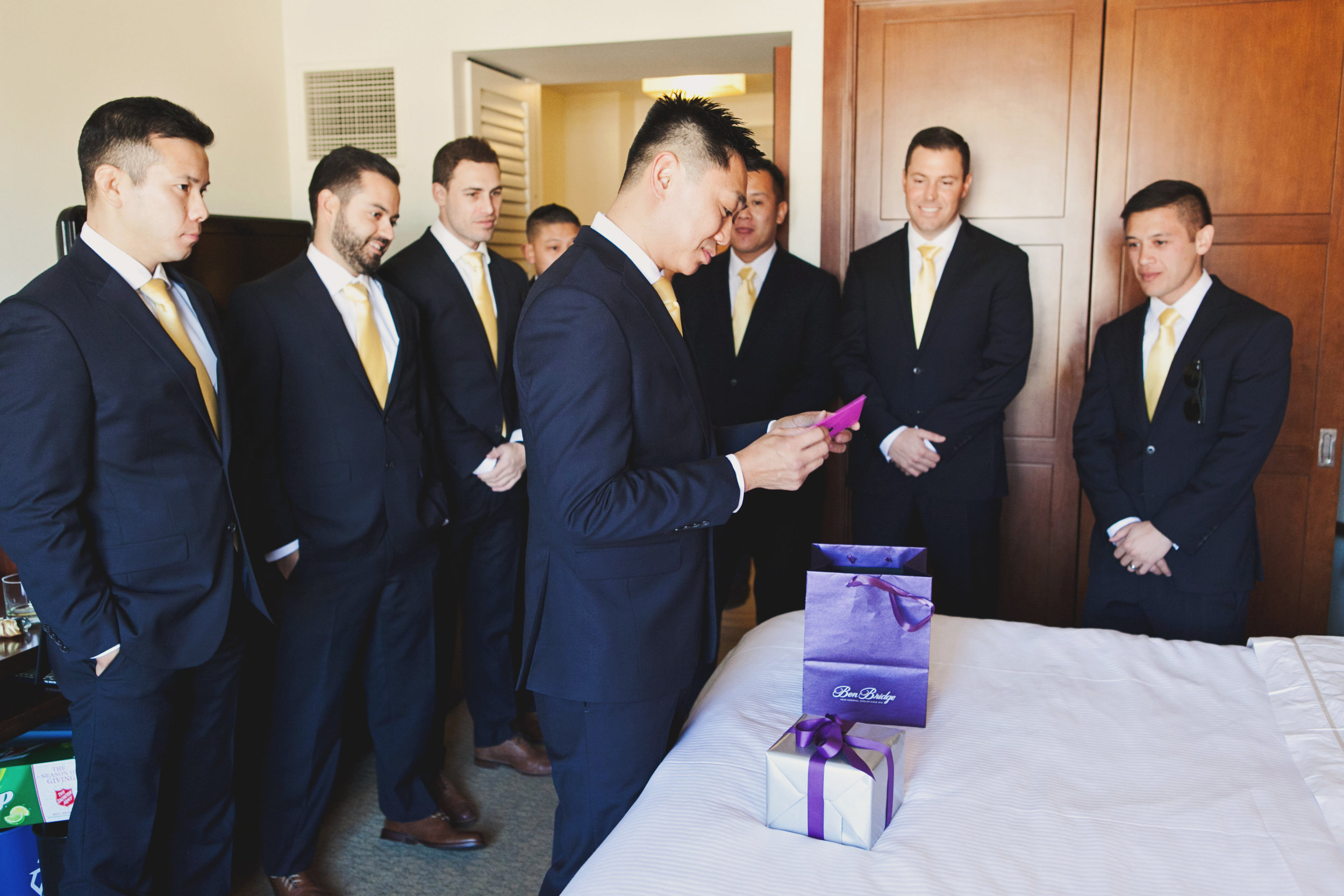 Beautiful Traditional Modern Chinese Wedding groom opening gifts.jpg