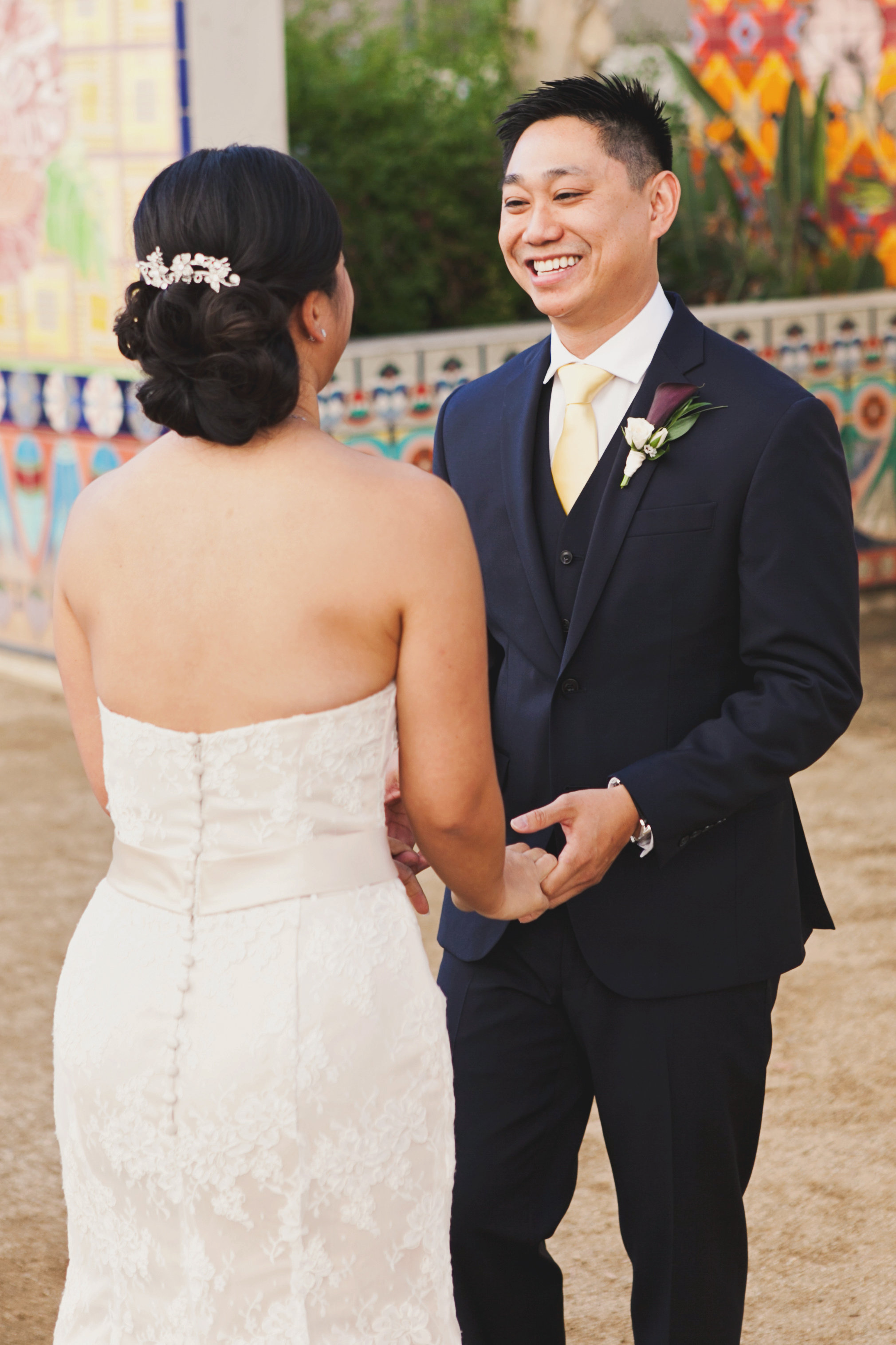 Beautiful Traditional Modern Chinese Wedding groom so happy to see bride at first look.jpg