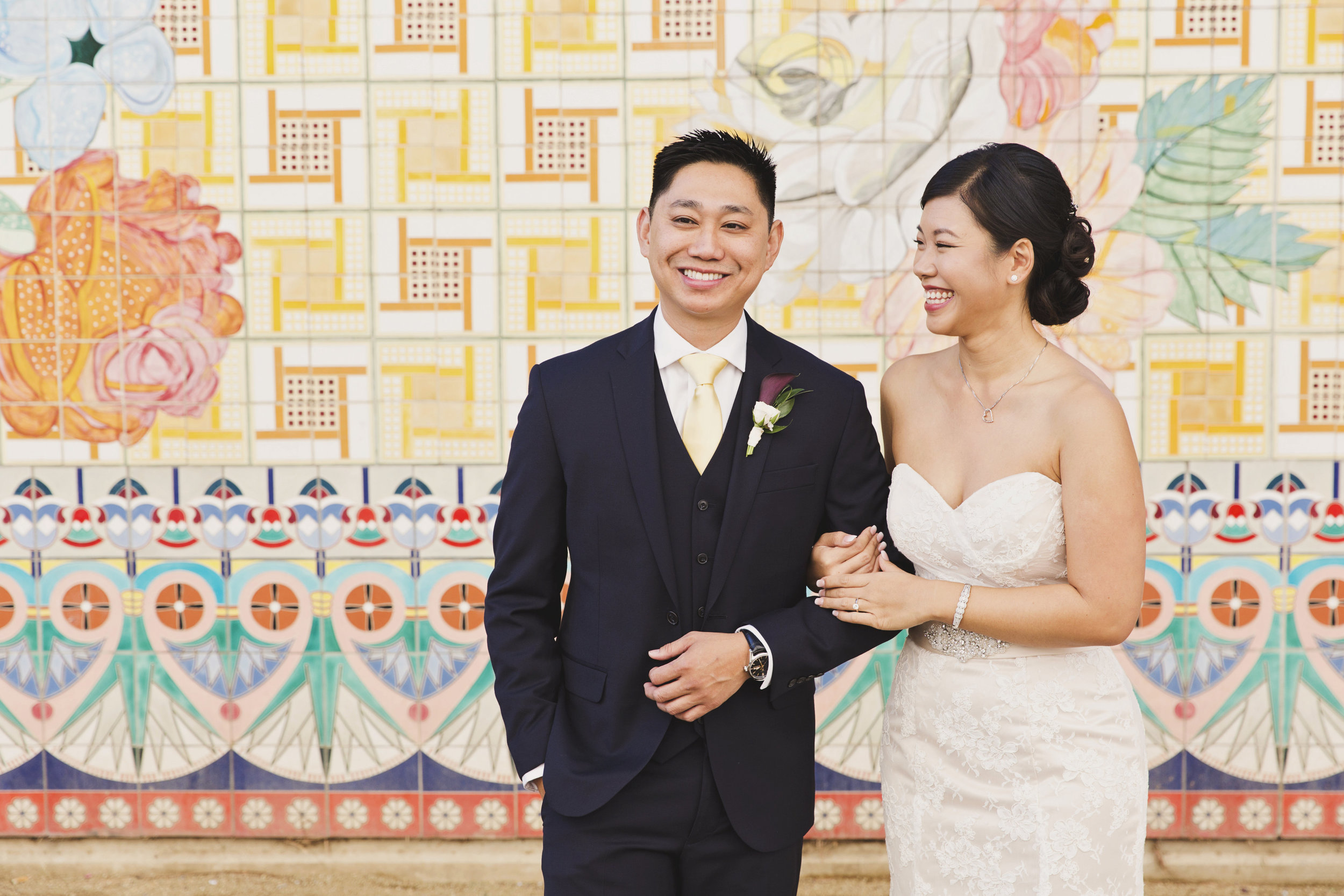 Beautiful Traditional Modern Chinese Wedding laughing after first look.jpg