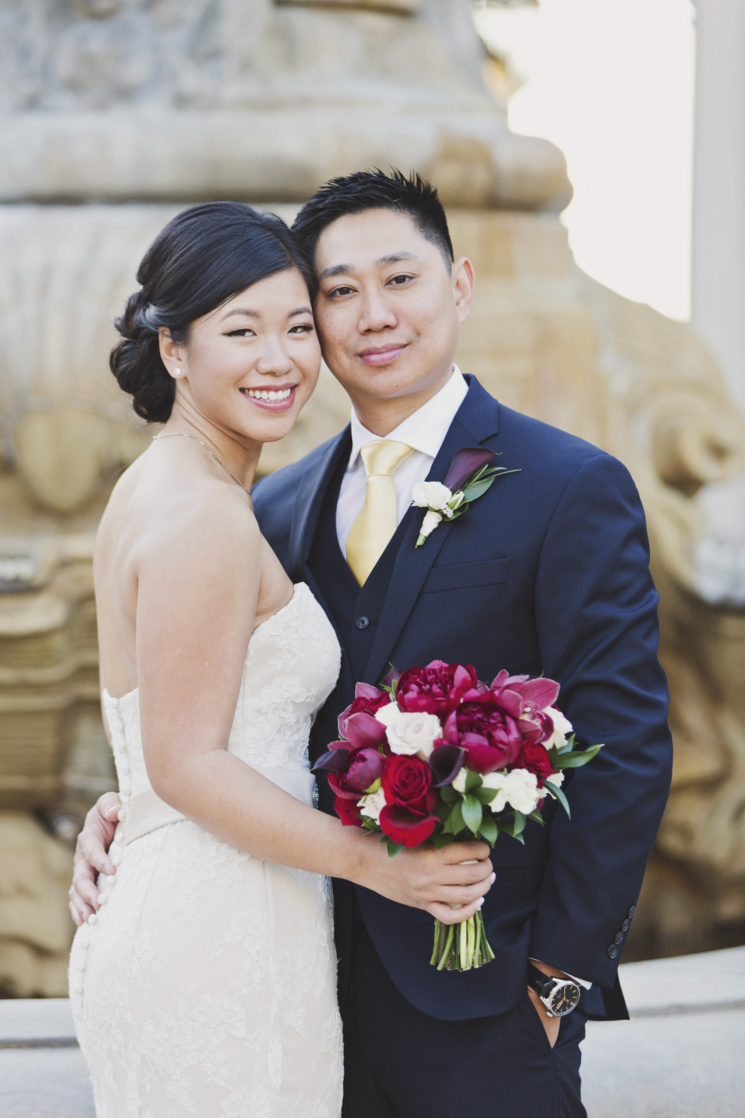 Beautiful Traditional Modern Chinese Wedding bride and groom Pasadena City Hall fountain in the background.jpg