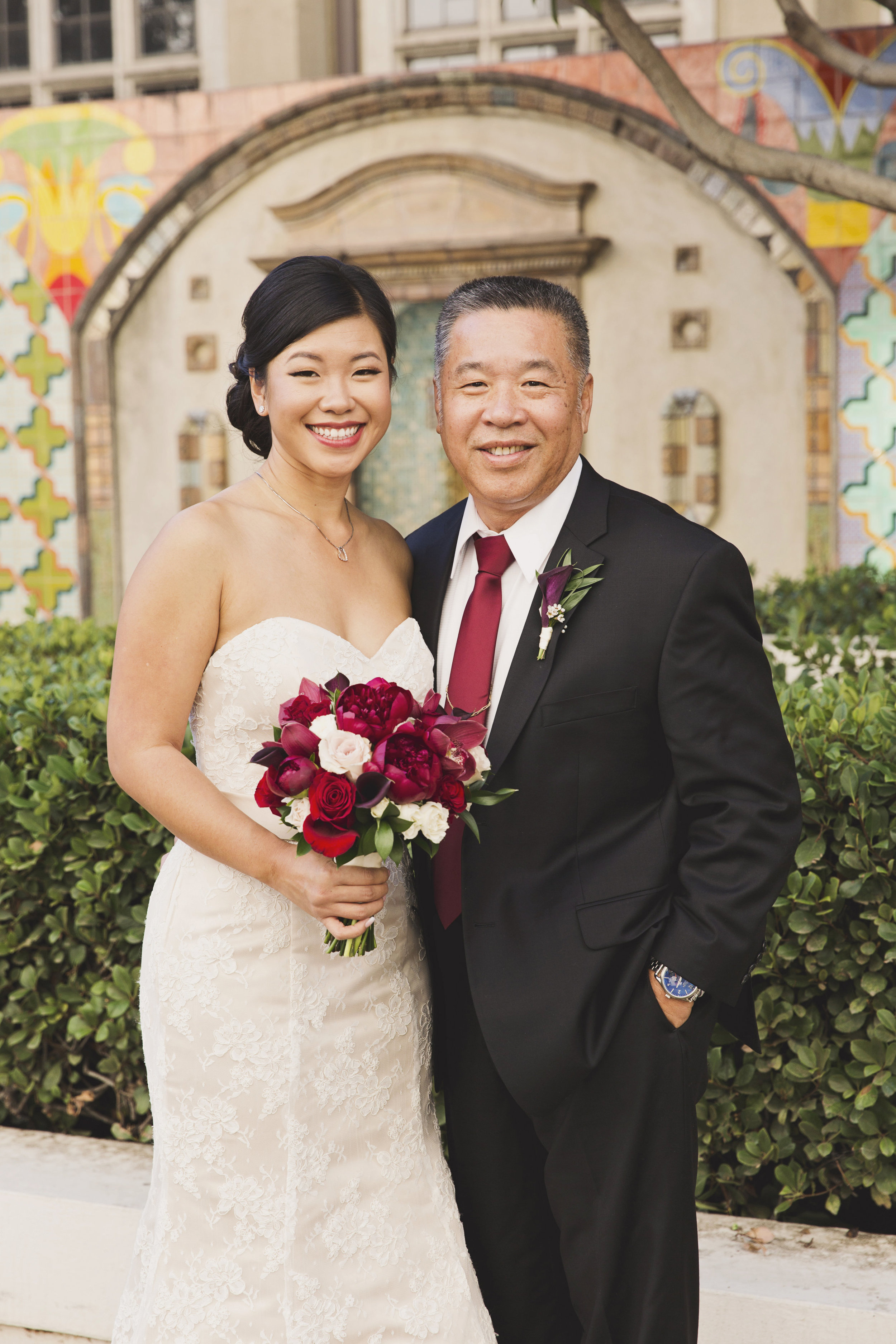 Beautiful Traditional Modern Chinese Wedding bride with father of the bride.jpg