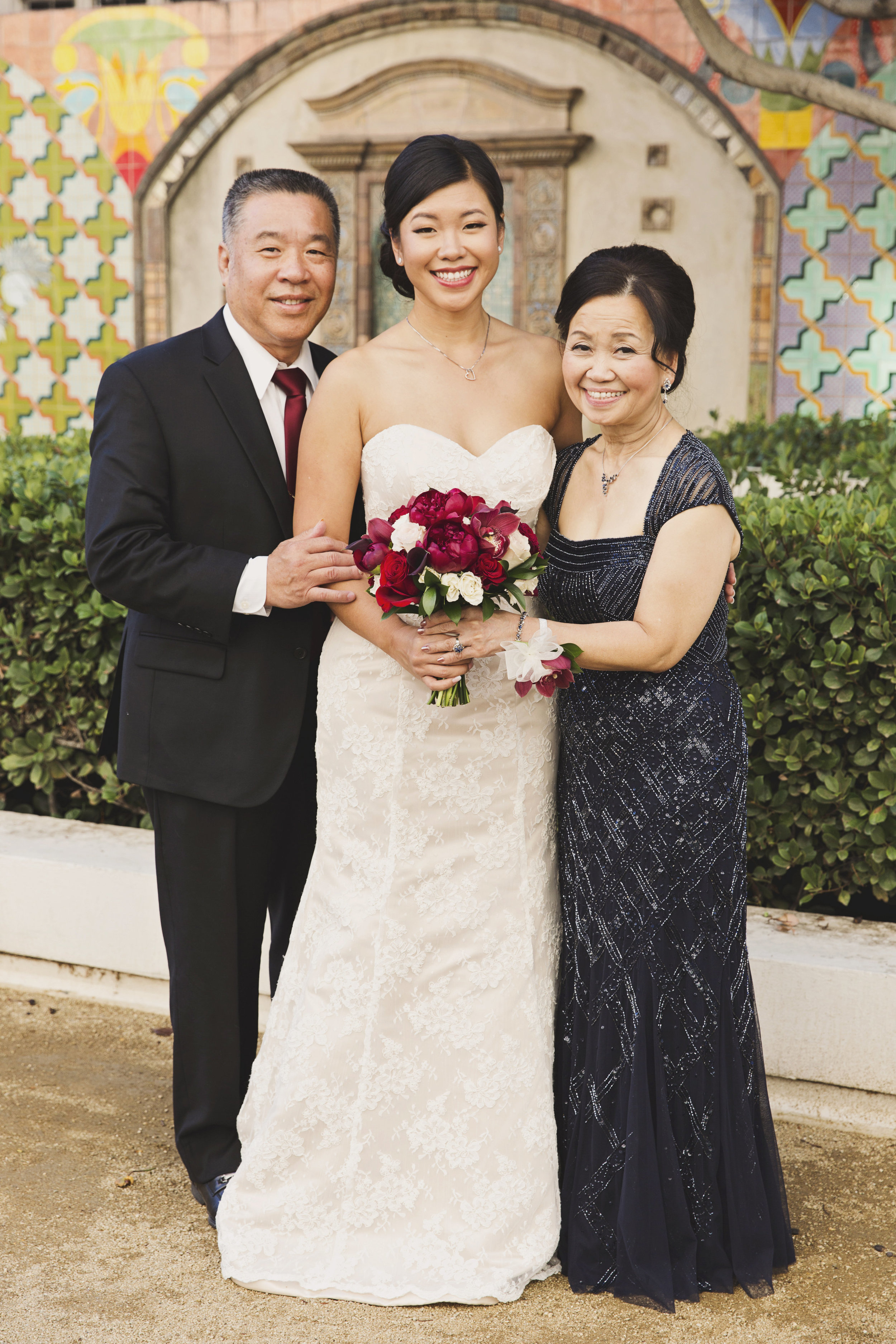 Beautiful Traditional Modern Chinese Wedding bride with her parents.jpg