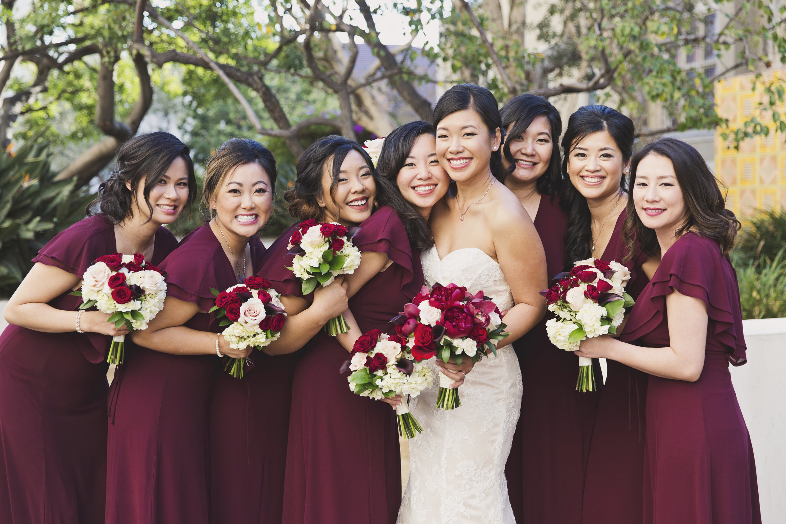 Beautiful Traditional Modern Chinese Wedding bride and her bridesmaids.jpg