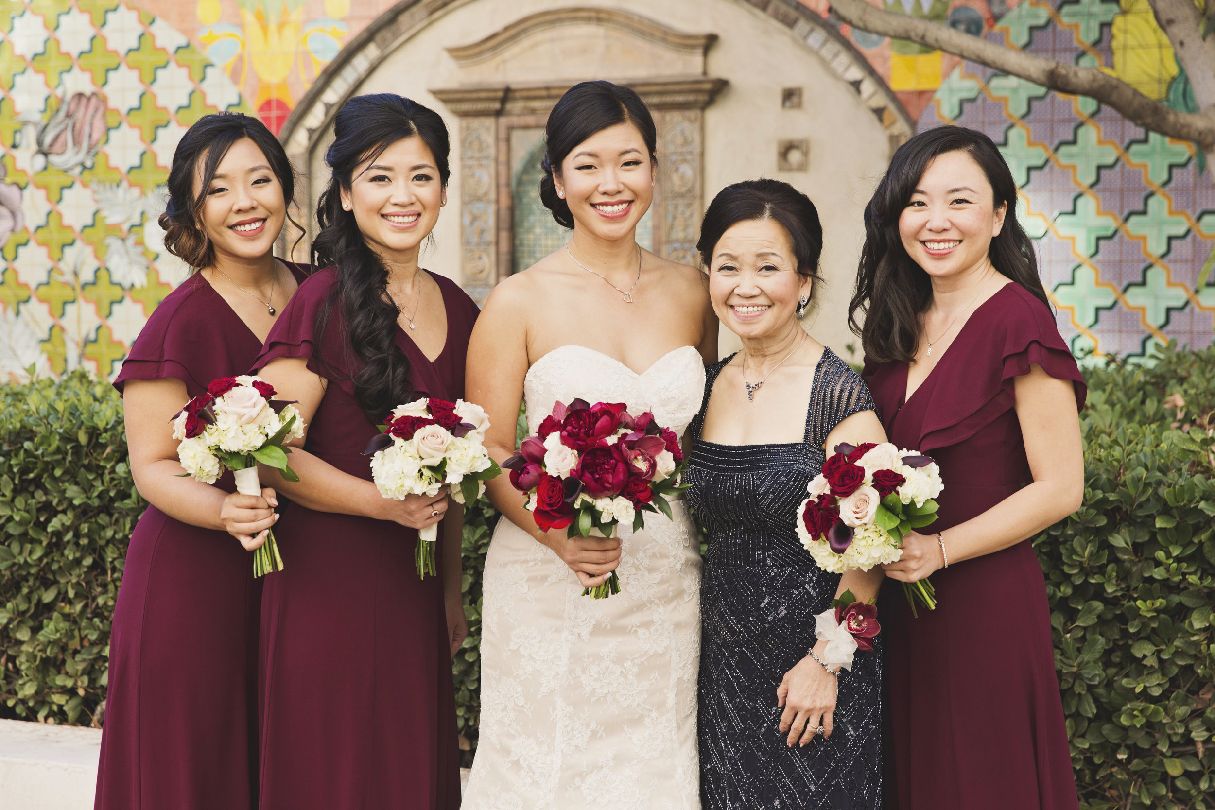 Beautiful Traditional Modern Chinese Wedding bride with her mother and bridesmaids.jpg
