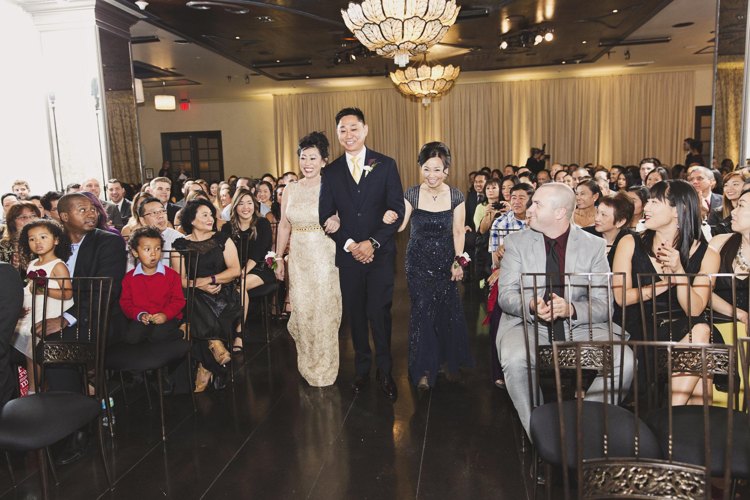 Beautiful Traditional Modern Chinese Wedding groom walks moms down the aisle.jpg