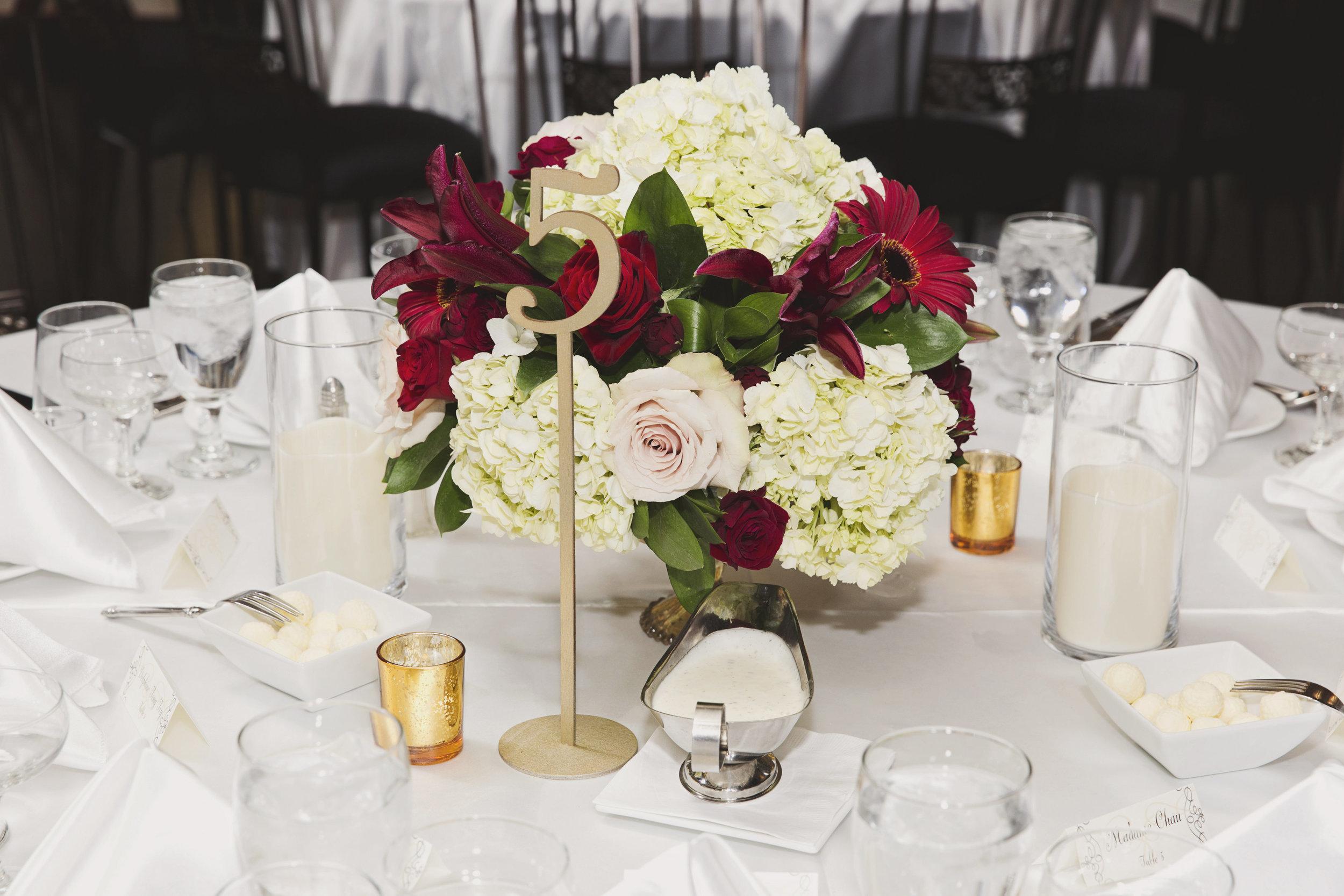 Beautiful Traditional Modern Chinese Wedding white hydrangeas red roses red gerbera diasies.jpg