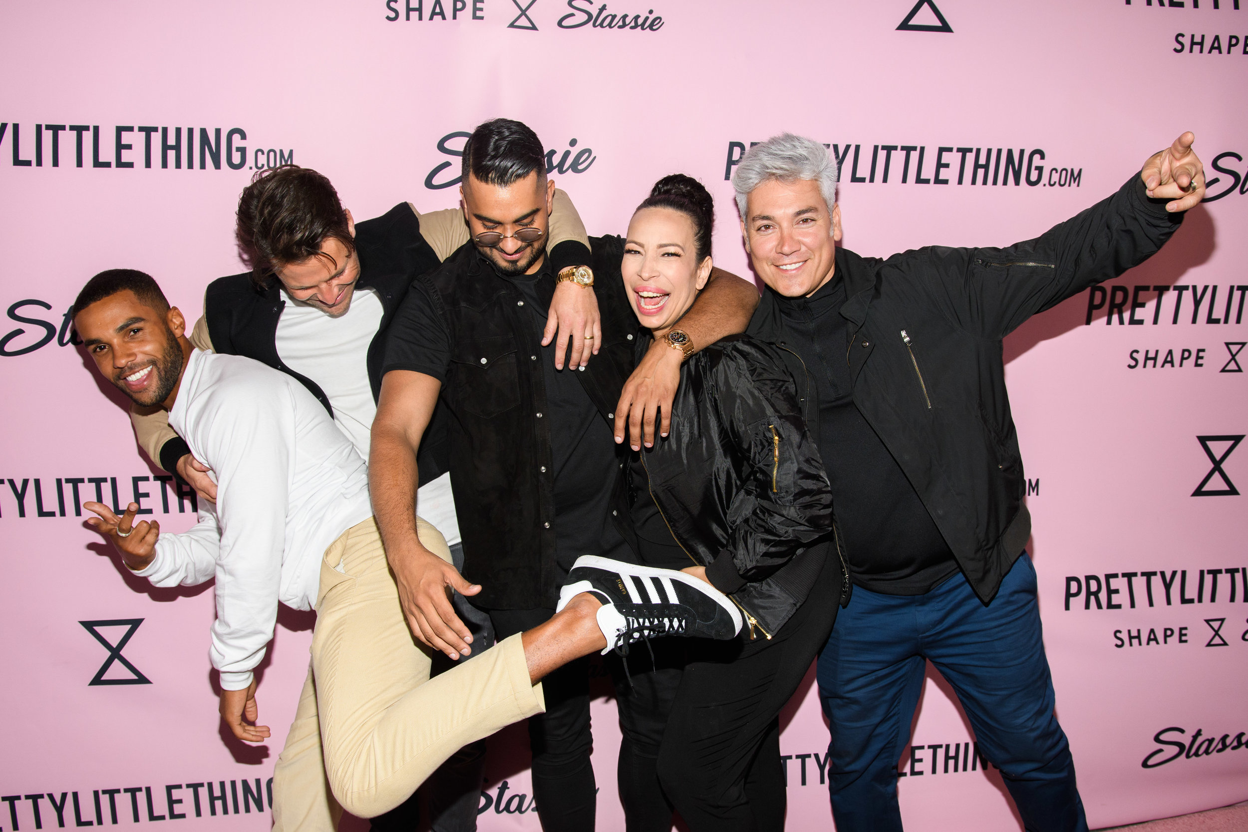 PrettyLittleThing New PLT Shape Collection with Stassie Celebrity Launch Party WOTP Lori and Herick of The Happen pose with Umar.jpg