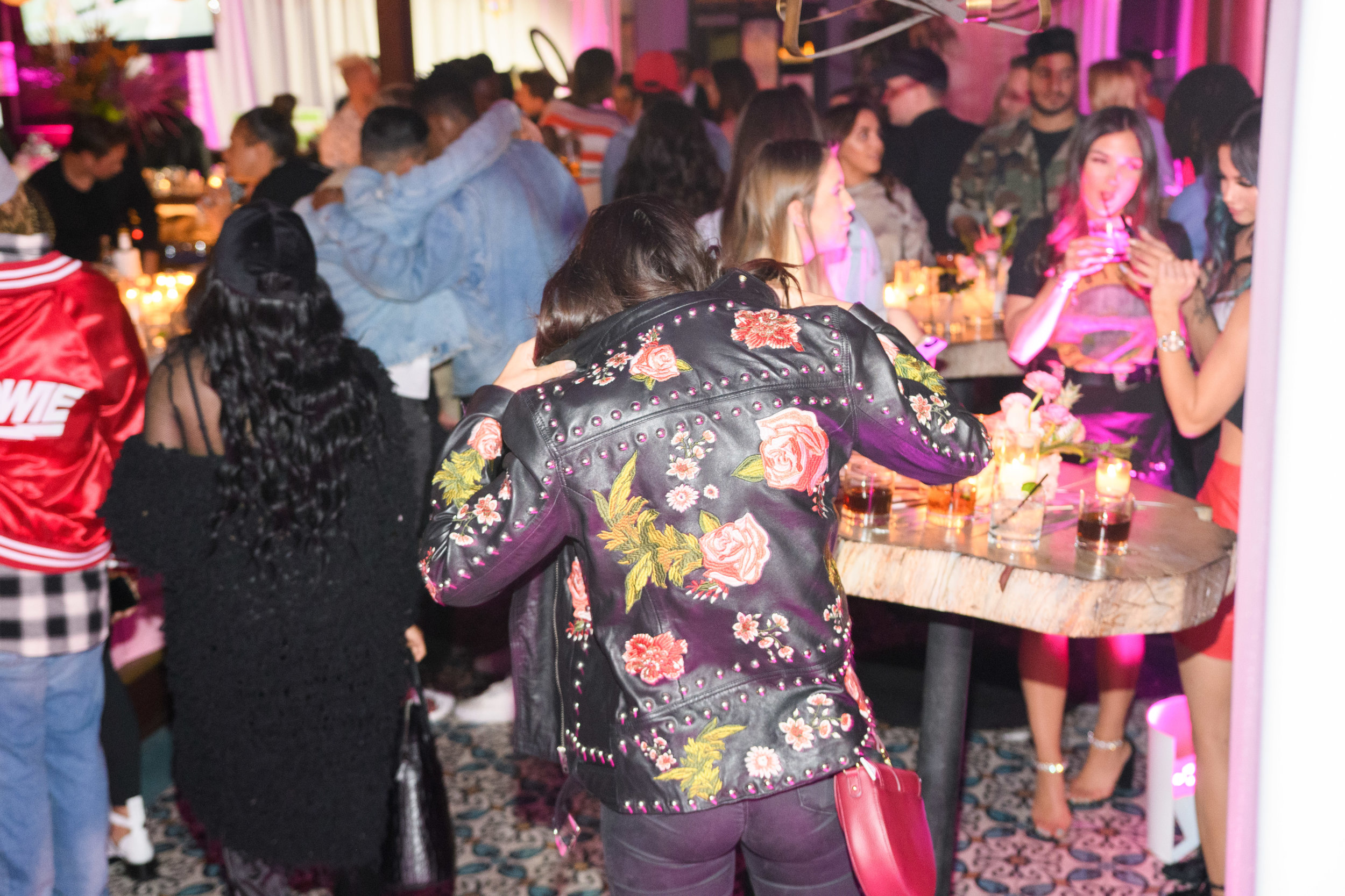PrettyLittleThing New PLT Shape Collection with Stassie Celebrity Launch Party party guest wearing a hot leather jacket.jpg
