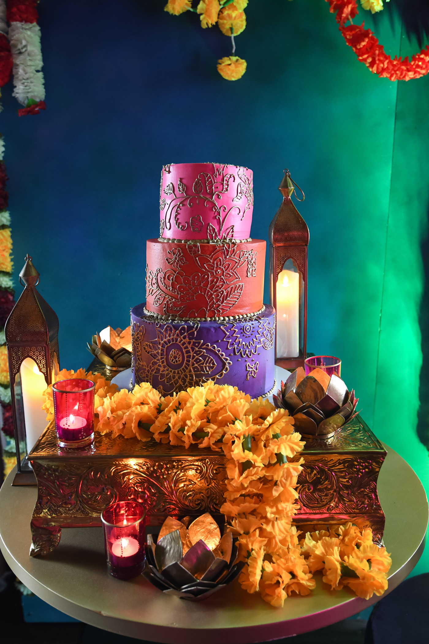 Moroccan Inspired Baby Shower Party cake looks so beautiful on gold cake stand.jpg