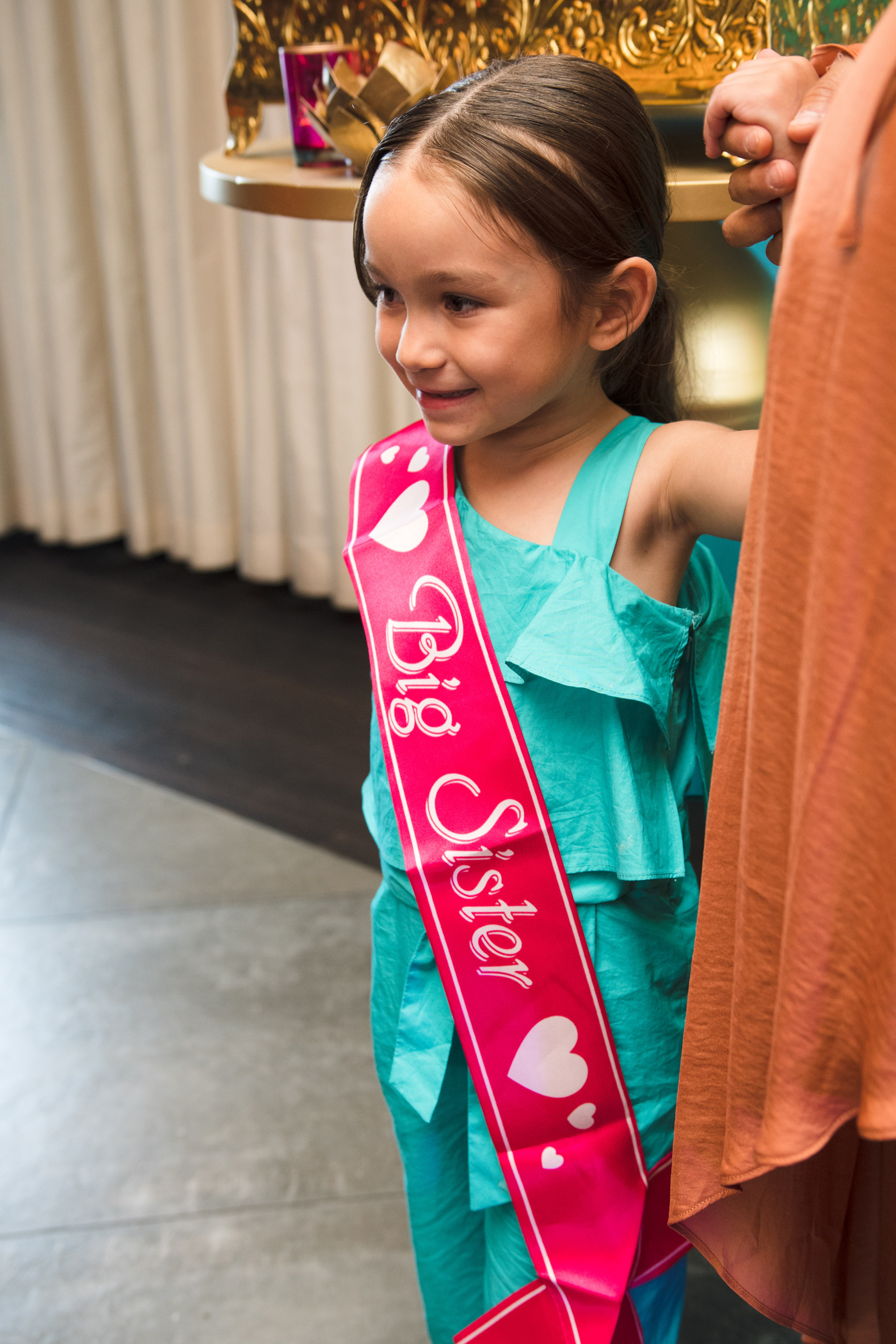 Moroccan Inspired Baby Shower Party frankie gets a big sister sash.jpg