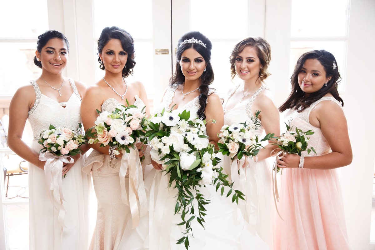 Elegant Pasadena Wedding to Make You Swoon bride and her bridesmaids.jpg