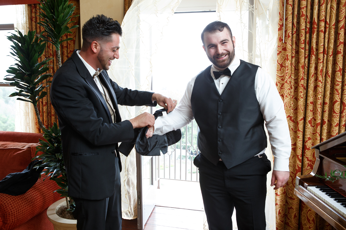 Elegant Pasadena Wedding to Make You Swoon best man helping groom.jpg
