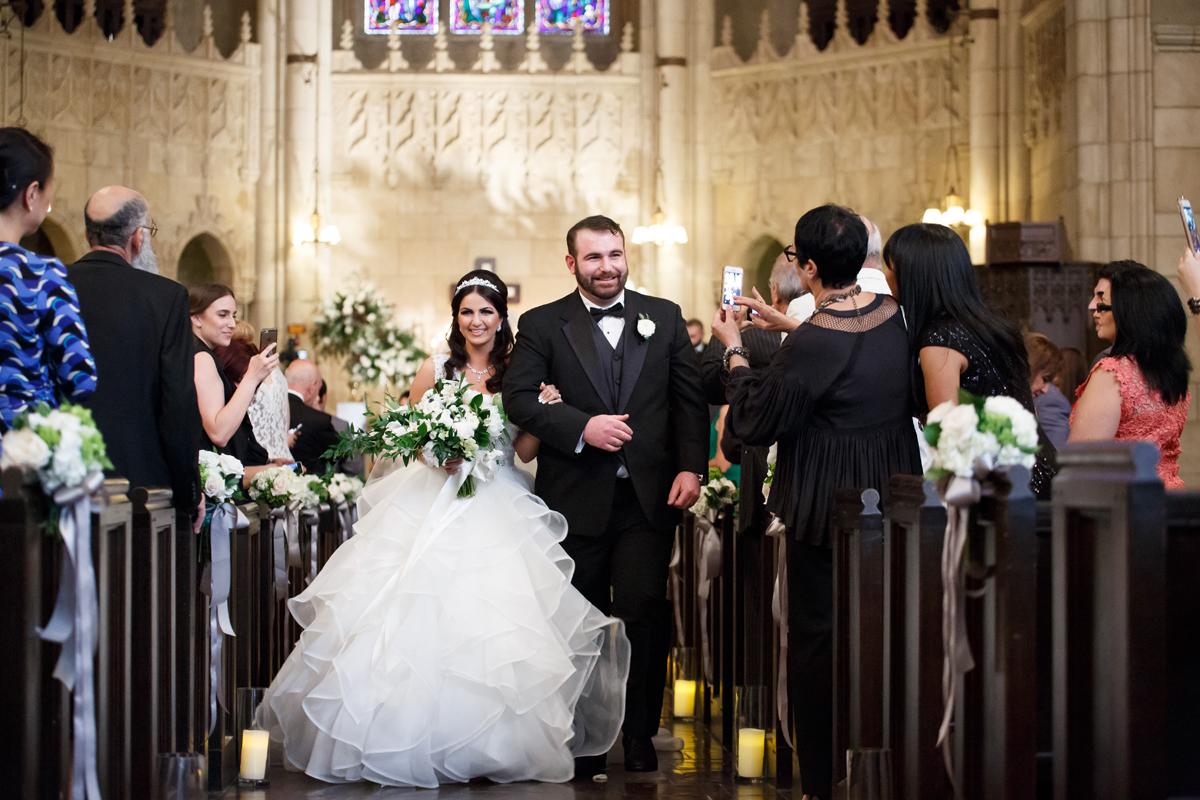Elegant Pasadena Wedding to Make You Swoon happy couple leaving church.jpg