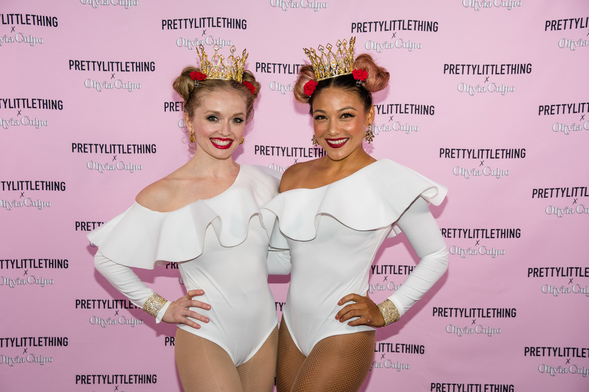 PrettyLittleThing PLT X Olivia Culpo Collection  Celebrity Launch Party aerialists in Scarlet Harlow headdresses.jpg