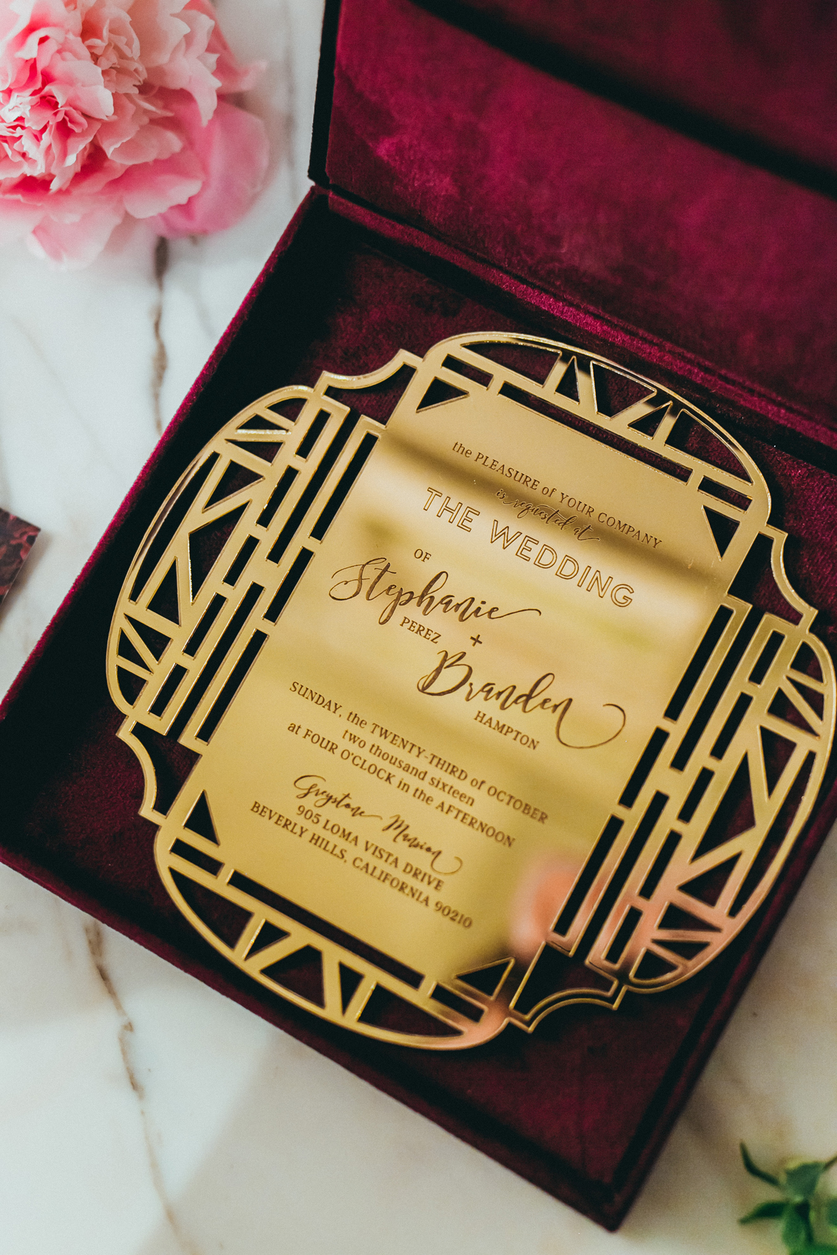 Breathtaking Contemporary Jewel Toned Fall Posh Wedding stunning gold invitation.jpg