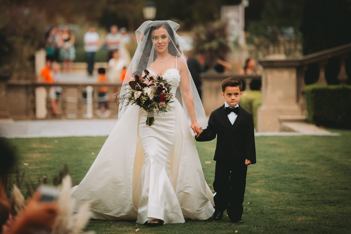 Breathtaking Contemporary Jewel Toned Fall Posh Wedding bride and her son.jpg