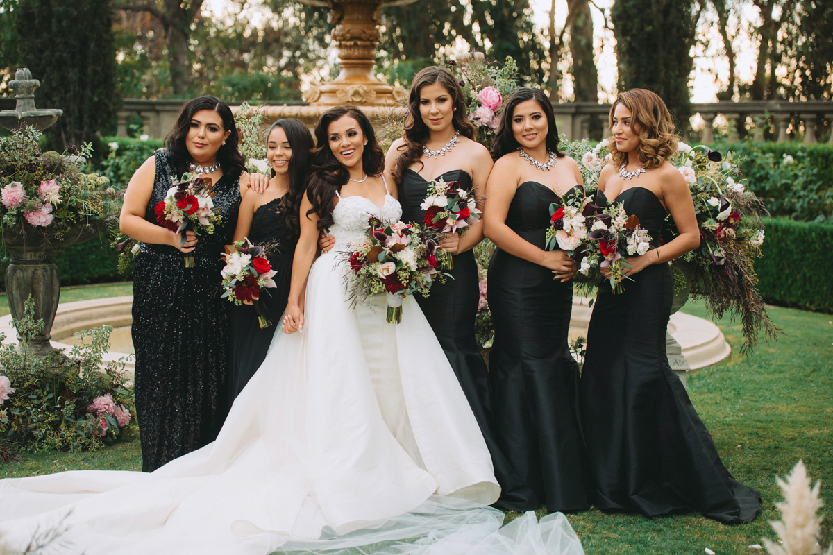 Breathtaking Contemporary Jewel Toned Fall Posh Wedding bride and bridesmaids.jpg