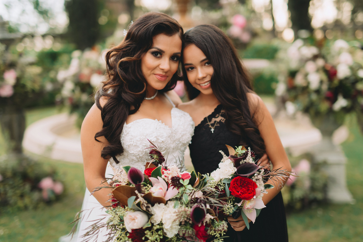 Breathtaking Contemporary Jewel Toned Fall Posh Wedding bride and stepdaughter.jpg