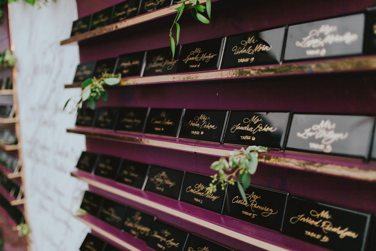 Breathtaking Contemporary Jewel Toned Fall Posh Wedding closeup table numbers.jpg