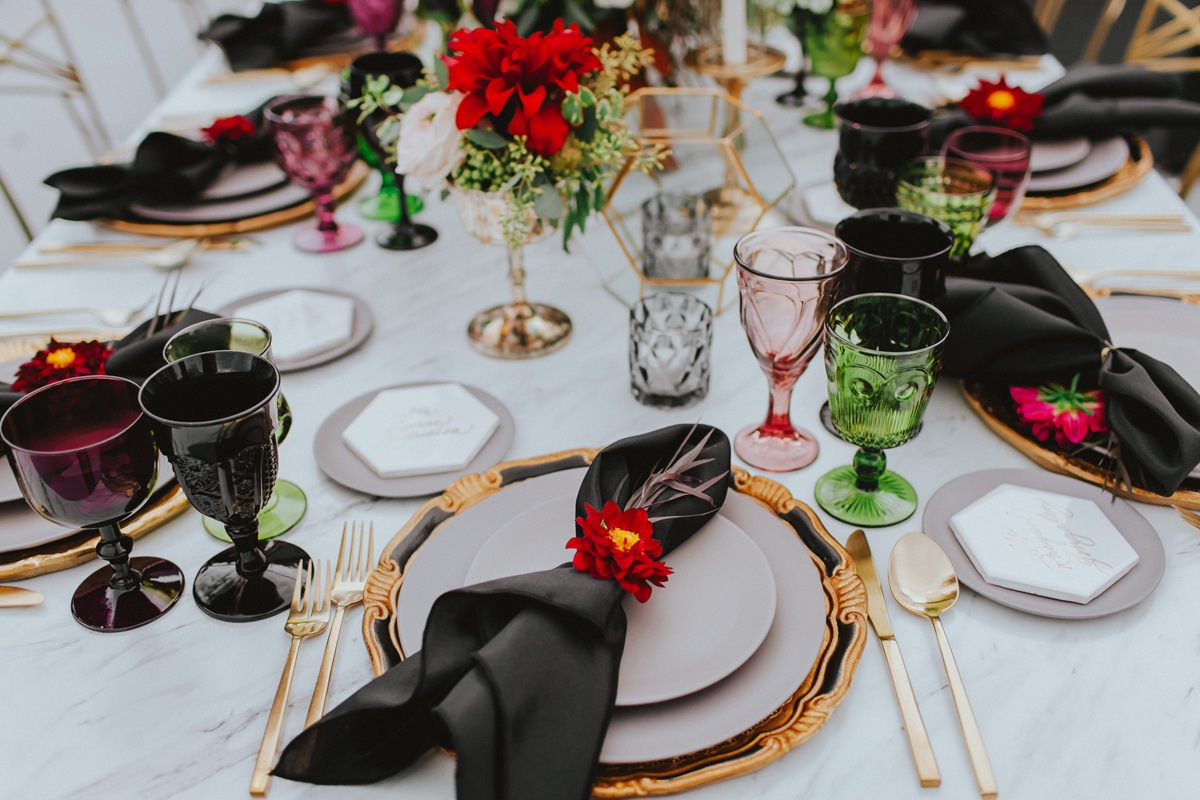 Breathtaking Contemporary Jewel Toned Fall Posh Wedding bright floral place setting.jpg