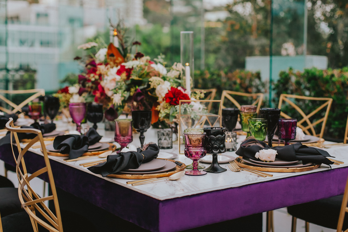 Breathtaking Contemporary Jewel Toned Fall Posh Wedding deep purple table.jpg