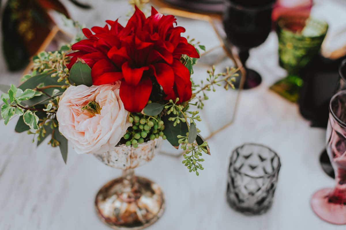 Breathtaking Contemporary Jewel Toned Fall Posh Wedding florals on dinner table.jpg