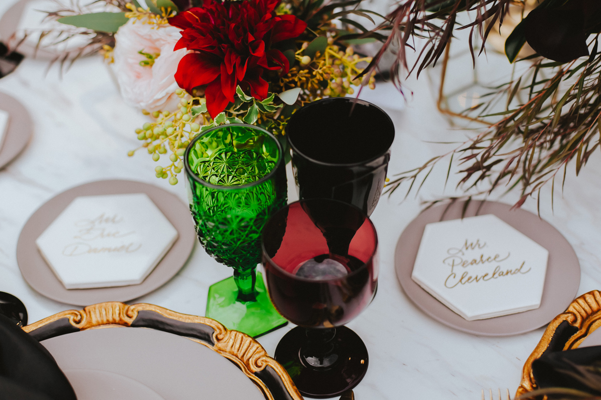 Breathtaking Contemporary Jewel Toned Fall Posh Wedding jewel toned glasses.jpg