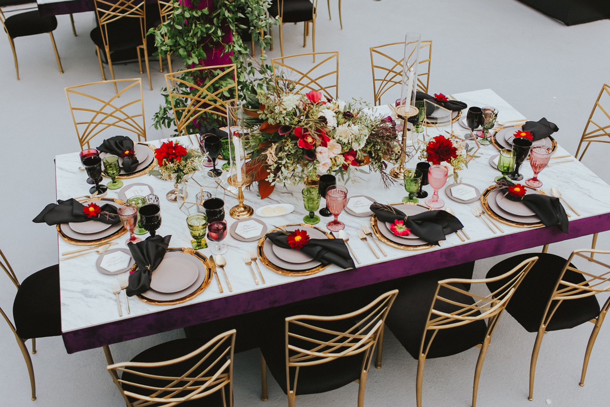 Breathtaking Contemporary Jewel Toned Fall Posh Wedding overview table.jpg