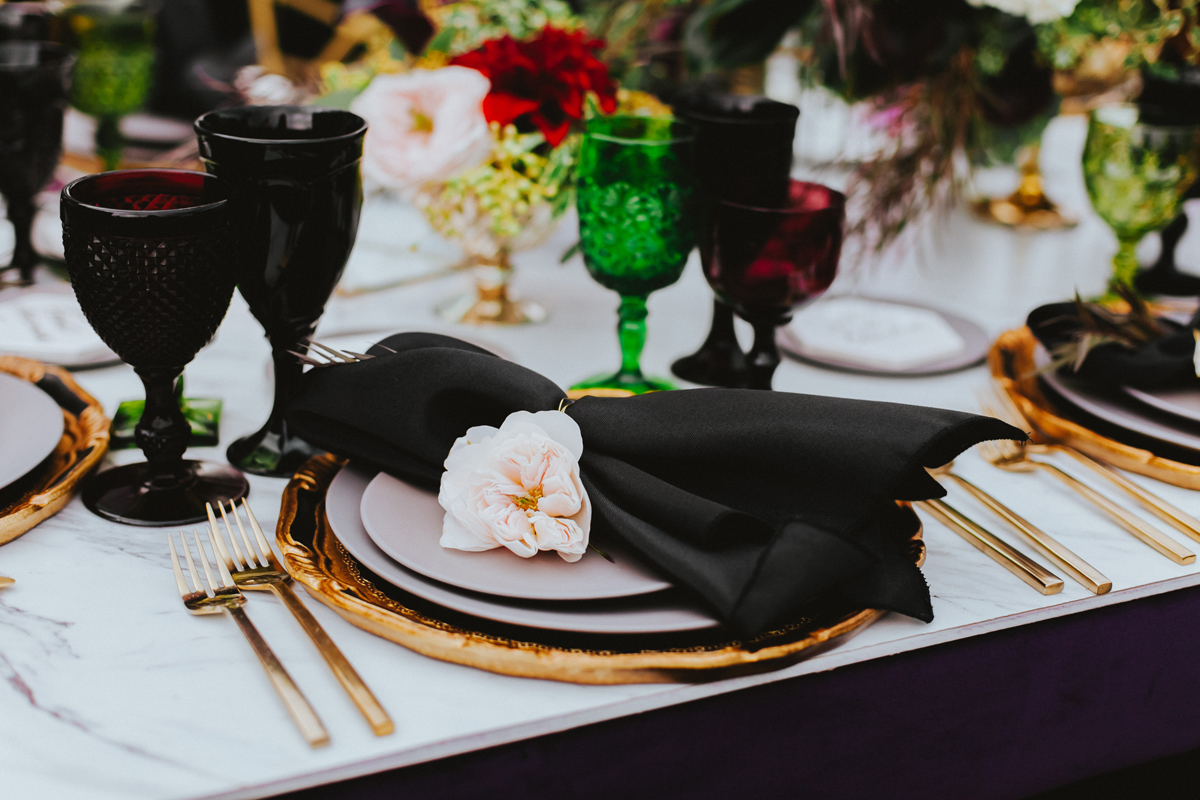 Breathtaking Contemporary Jewel Toned Fall Posh Wedding place setting with black napkin.jpg