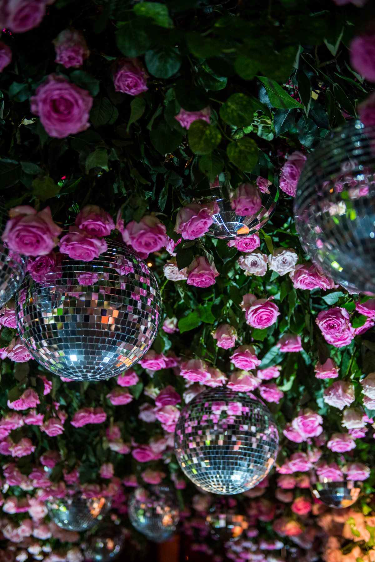 PrettyLittleThing PLT X Kourtney Kardashian Collection Celebrity Launch Party disco balls and roses.jpg