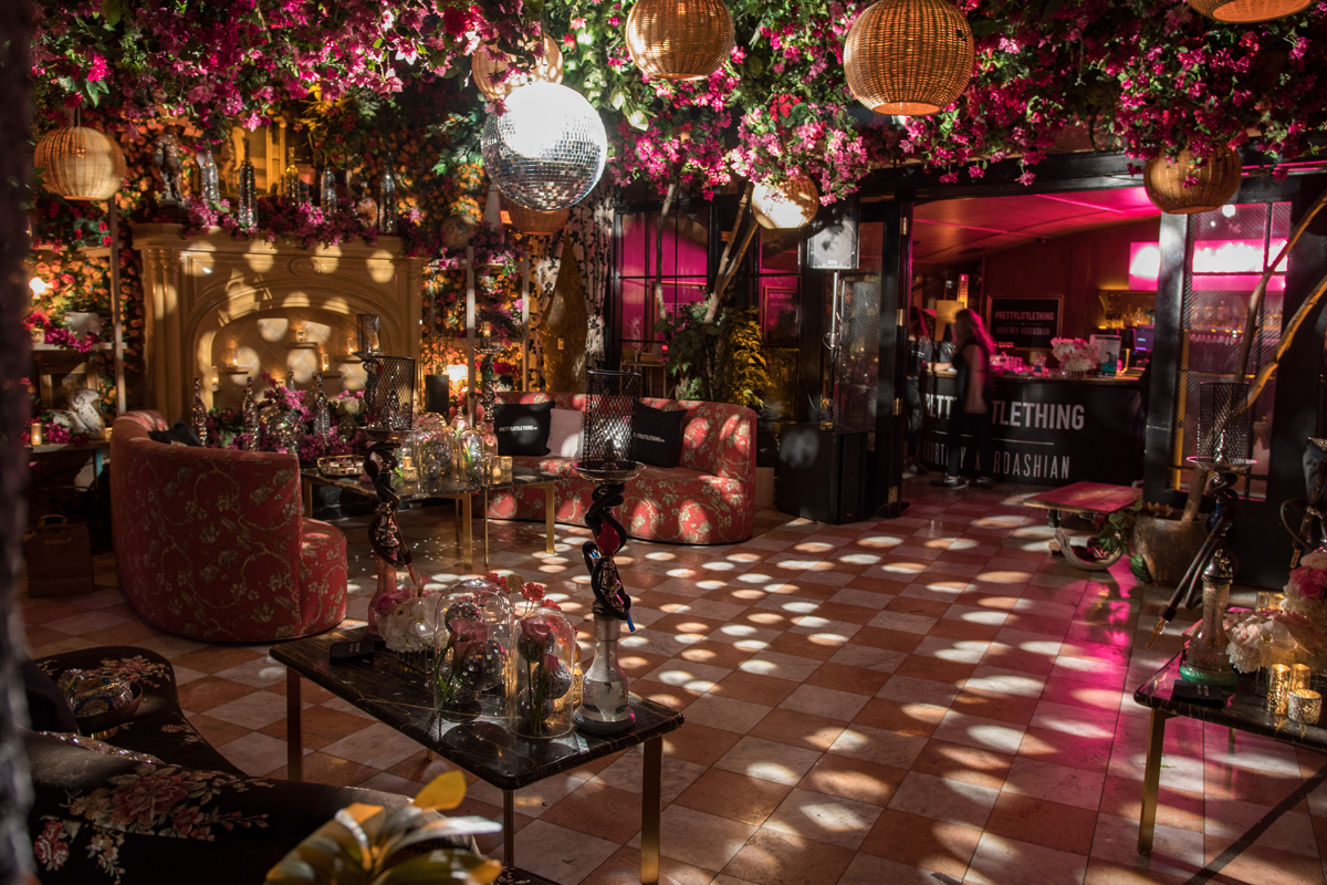 PrettyLittleThing PLT X Kourtney Kardashian Collection Celebrity Launch Party disco ball and celing flowers.jpg