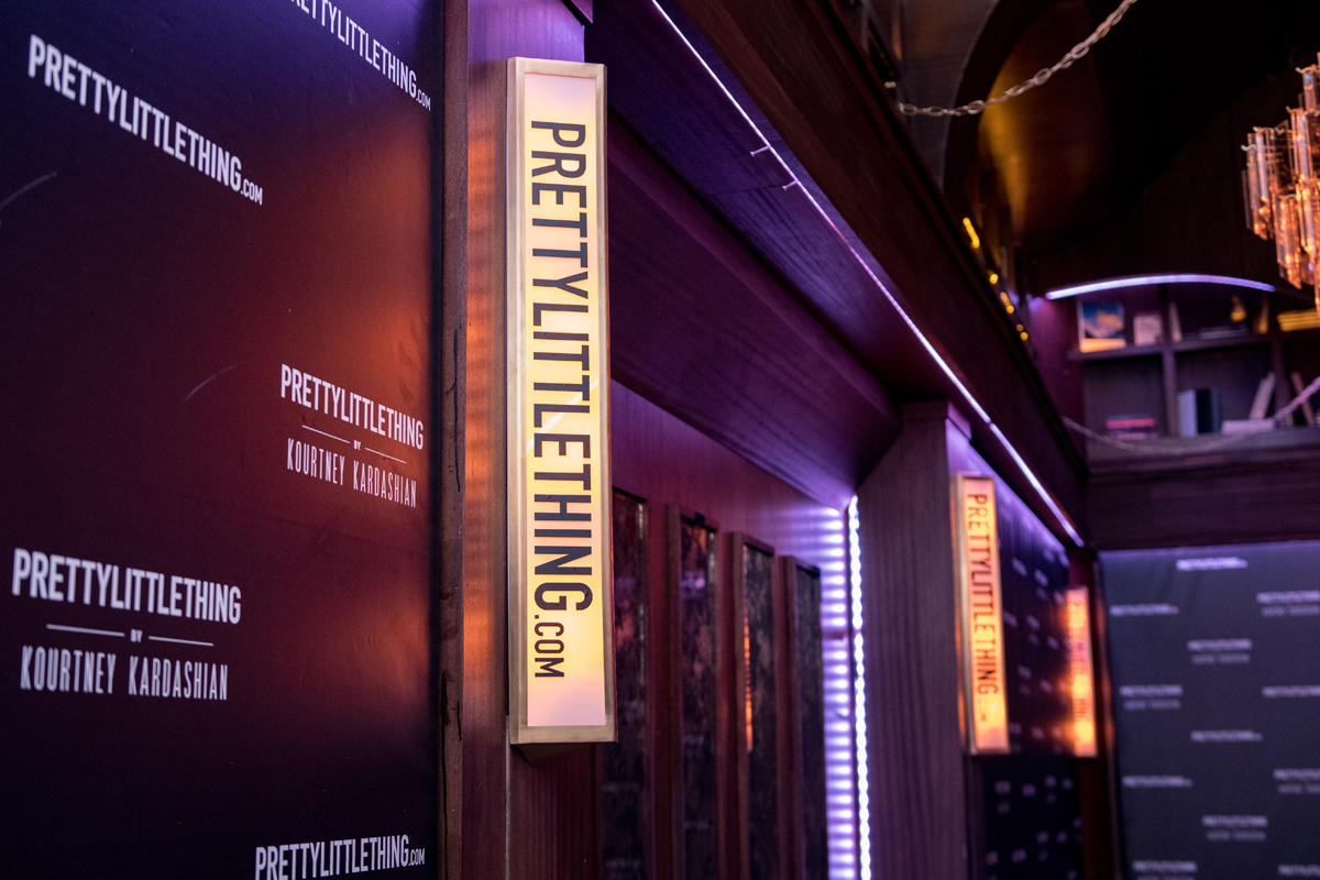 PrettyLittleThing PLT X Kourtney Kardashian Collection Celebrity Launch Party marquee light.jpg
