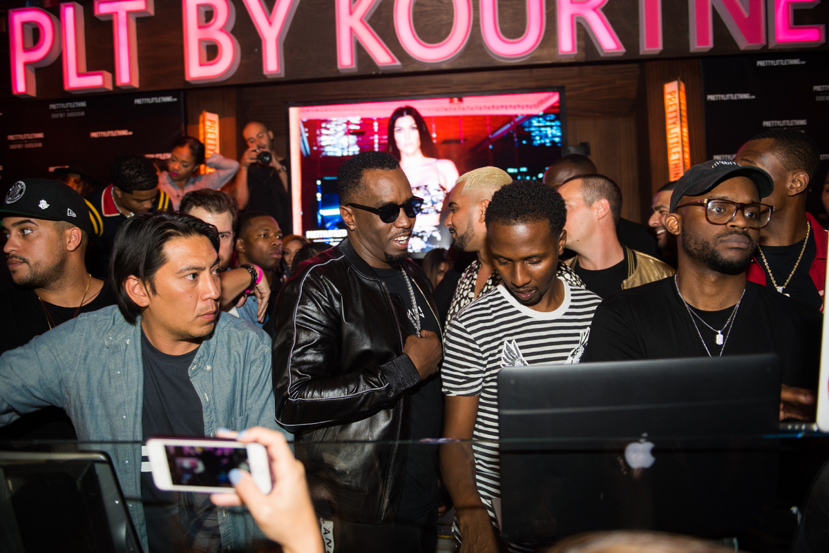PrettyLittleThing PLT X Kourtney Kardashian Collection Celebrity Launch Party P Diddy at DJ booth.jpg