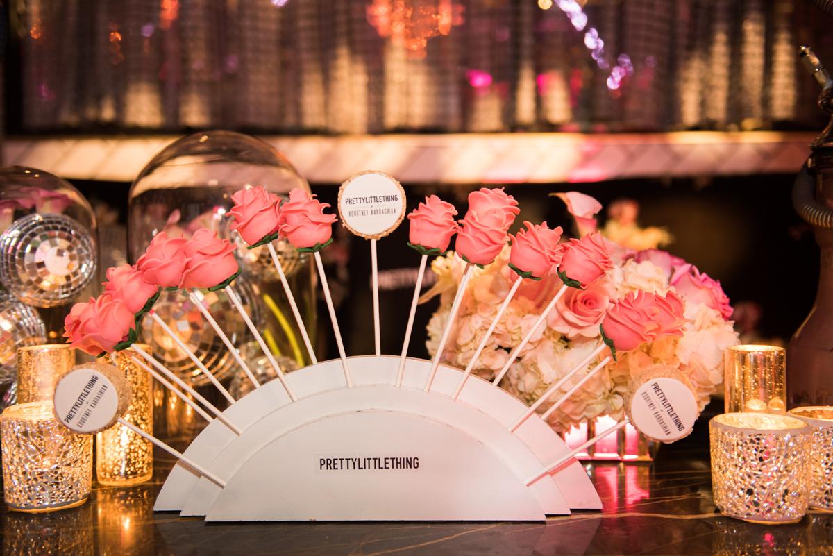 PrettyLittleThing PLT X Kourtney Kardashian Collection Celebrity Launch Party pink rose cake pops.jpg