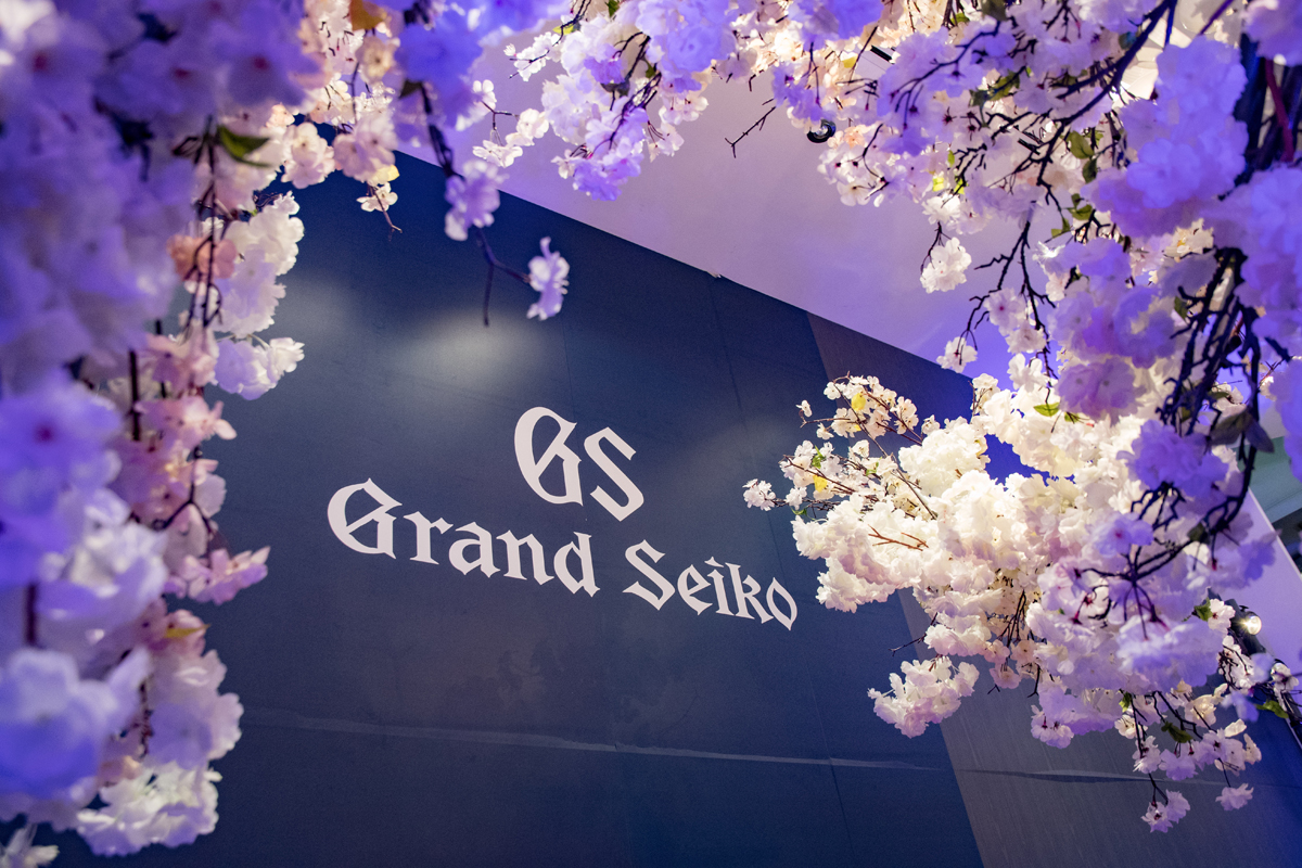 Grand Seiko Boutique Grand Affair Beverly Hills Store Opening Logo in the midst of cherry blossoms.jpg
