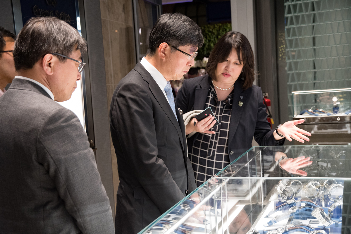 Grand Seiko Boutique Grand Affair Beverly Hills Store Opening Showing Mr Akira Chiba the watches.jpg
