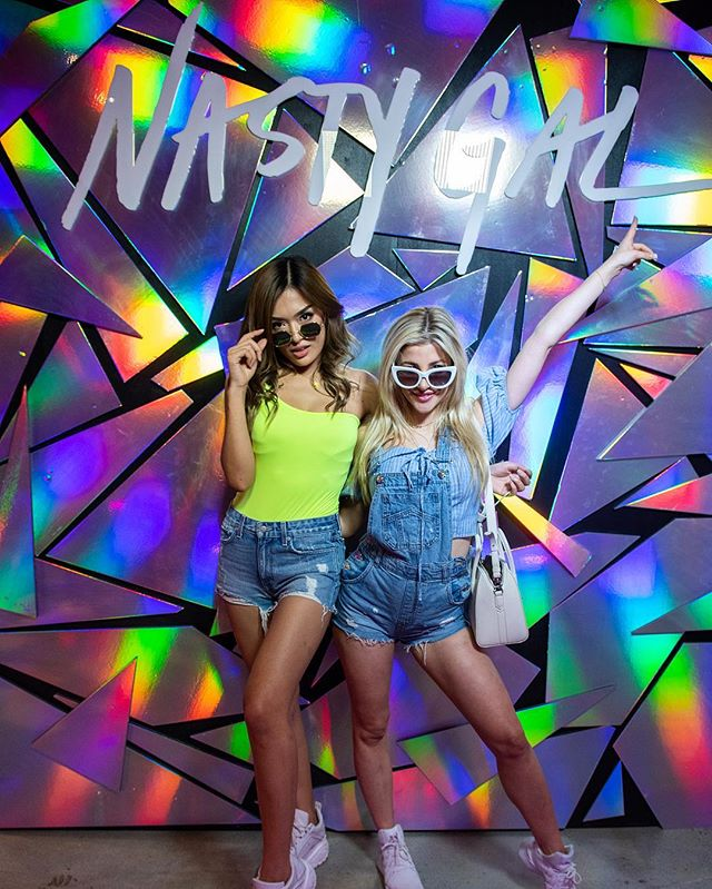 Nasty Gals Do It Better. A fun custom backdrop for festival festivities with @nastygal here in Los Angeles to be #palmsprings ready!  #thewotp #coachella #festivalseason #backdrops #irridescent #festival #nastygalsdoitbetter #edm #musicfestival #dance #palmdesert #psychedelicart #psychedelic